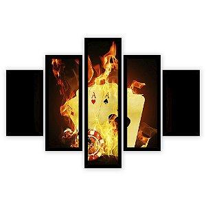 Quadro Mosaico 5 Partes Diferentes Cartas Pegando Fogo Quero Mais Quadros Preto