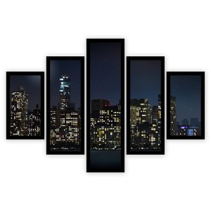 Quadro Mosaico 5 Partes Diferentes Cidade Noturna Quero Mais Quadros