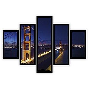 Quadro Mosaico 5 Partes Diferentes Ponte Golden Gate A Noite Quero Mais Quadros Preto