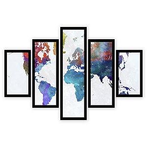 Quadro Mosaico 5 Partes Diferentes Mapa Mundi Colorido Quero Mais Quadros Preto