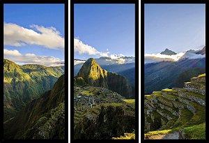 Quadro Mosaico 3 Partes Reto Vista Aerea Machu Picchu Art e Cia Preto
