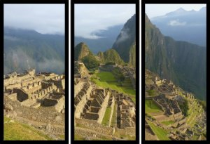 Quadro Mosaico 3 Partes Reto Machu Picchu Peru Art e Cia Preto