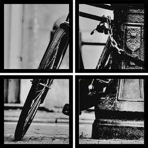 Quadro Mosaico 4 Partes Quadrado Bike Black And White Art e Cia Preto