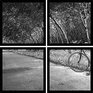 Quadro Mosaico 4 Partes Quadrado Bike No Caminho Art e Cia Preto