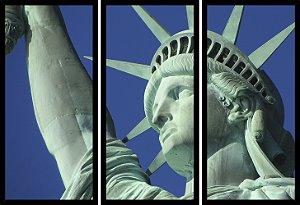 Quadro Mosaico 3 Partes Reto Estatua Da Liberdade Nova Iorque Art e Cia Preto