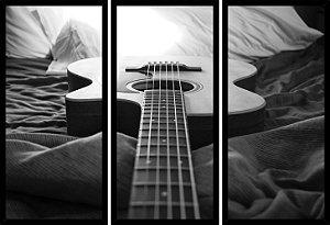 Quadro Mosaico 3 Partes Reto Music Violao Art e Cia Preto