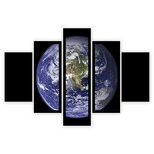 Quadro Mosaico 5 Partes Diferentes Planeta Terra Quero Mais Quadros Preto