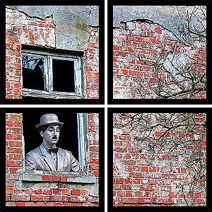 Quadro Mosaico 4 Partes Quadrado Charles Chaplin Na Janela Art e Cia Preto