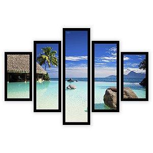 Quadro Mosaico 5 Partes Diferentes Praia Filipinas Quero Mais Quadros Preto