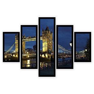 Quadro Mosaico 5 Partes Diferentes Tower Bridge A Noite Quero Mais Quadros Preto