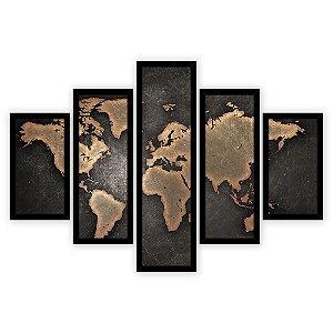 Quadro Mosaico 5 Partes Diferentes Mapa Mundi Laranja e Preto Quero Mais Quadros Preto