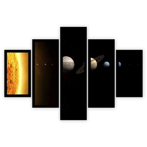 Quadro Mosaico 5 Partes Diferentes Sistema Solar Quero Mais Quadros Preto