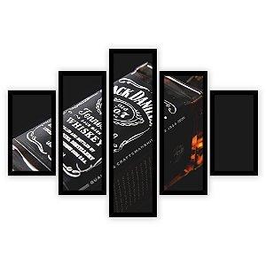 Quadro Mosaico 5 Partes Diferentes Wisk Jack Daniels Quero Mais Quadros Preto