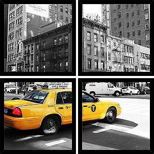 Quadro Mosaico 4 Partes Quadrado Taxi de New York Art e Cia Preto