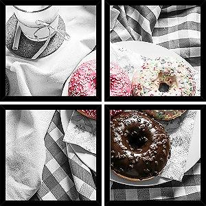 Quadro Mosaico 4 Partes Quadrado Donuts Coffee Break Art e Cia Preto