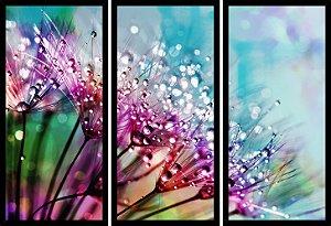 Quadro Mosaico 3 Partes Reto Flowers Art e Cia Preto