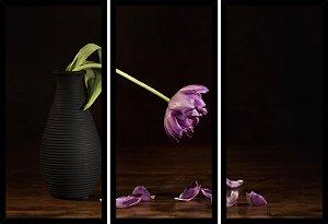 Quadro Mosaico 3 Partes Reto Vaso com Flor Art e Cia Preto