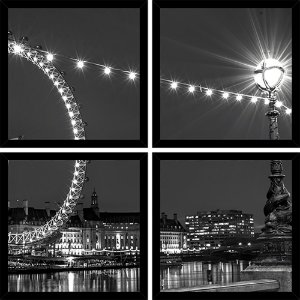 Quadro Mosaico 4 Partes Quadrado London Eye Art e Cia Preto