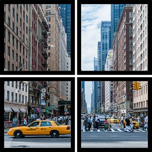 Quadro Mosaico 4 Partes Quadrado Arquitetura Nyc Art e Cia Preto