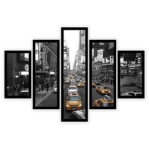 Quadro Mosaico 5 Partes Diferentes Taxi em New York Quero Mais Quadros Preto