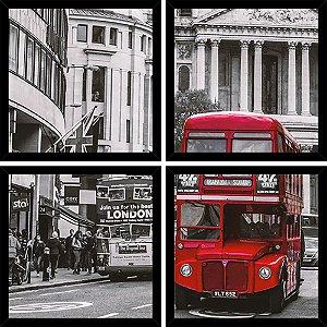 Quadro Mosaico 4 Partes Quadrado Bus London Art e Cia Preto