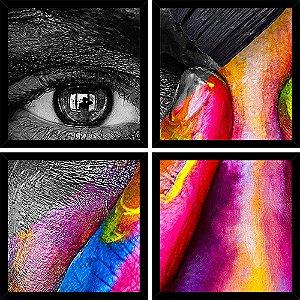 Quadro Mosaico 4 Partes Quadrado Rosto Pintado Art e Cia Preto