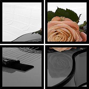 Quadro Mosaico 4 Partes Quadrado Violao com Rosas Art e Cia Preto