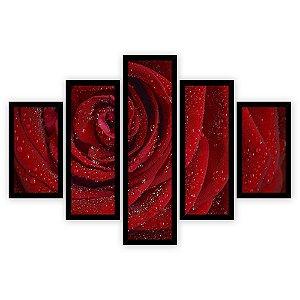 Quadro Mosaico 5 Partes Diferentes Rosa Vermelha Quero Mais Quadros Preto