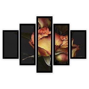 Quadro Mosaico 5 Partes Diferentes Rosas Laranja Quero Mais Quadros Preto