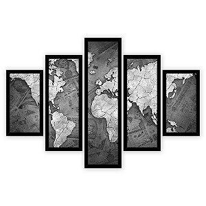 Quadro Mosaico 5 Partes Diferentes Mapa Mundi Fundo Dinheiro Preto e Branco Quero Mais Quadros Preto