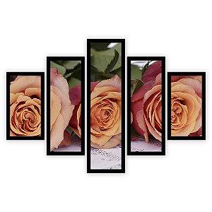 Quadro Mosaico 5 Partes Diferentes Rosas com Musica Quero Mais Quadros Preto