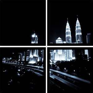 Quadro Mosaico 4 Partes Quadrado Luzes Kuala Lumpur Art e Cia Preto