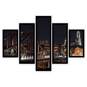 Quadro Mosaico 5 Partes Diferentes Ponte A Noite Quero Mais Quadros Preto