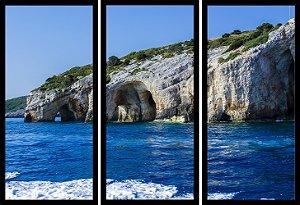Quadro Mosaico 3 Partes Reto Cavernas Azul Art e Cia Preto