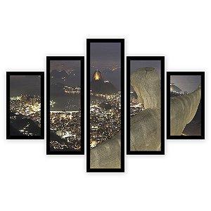 Quadro Mosaico 5 Partes Diferentes Rio de Janeiro A Noite Quero Mais Quadros Preto