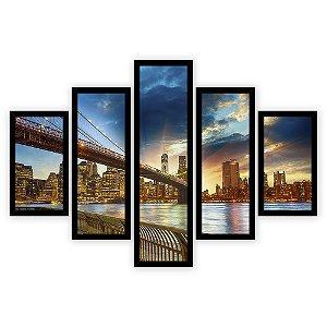 Quadro Mosaico 5 Partes Diferentes New York Ponte de Brooklin Quero Mais Quadros Preto
