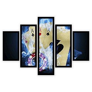 Quadro Mosaico 5 Partes Diferentes Cartas de Baralho Fogo Azul Quero Mais Quadros Preto