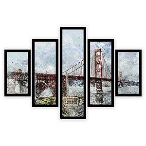 Quadro Mosaico 5 Partes Diferentes Ponte Golden Gate Pintura Quero Mais Quadros Preto
