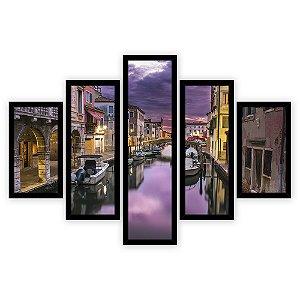 Quadro Mosaico 5 Partes Diferentes Canais de Veneza Quero Mais Quadros Preto