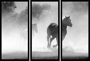 Quadro Mosaico 3 Partes Reto Cavalo Correndo Peb Art e Cia Preto