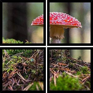 Quadro Mosaico 4 Partes Quadrado Cogumelo Magico Art e Cia Preto