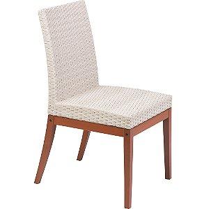 Cadeira de Fibra Bege e Madeira Jatoba Acabamento Natural Tramontina