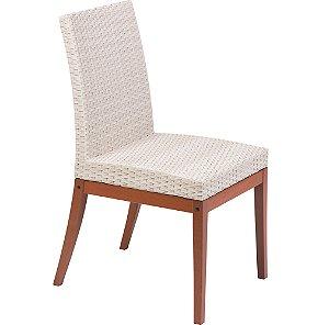 Cadeira de Madeira em Jatoba Sem Bracos com Estofado Bege Em Fibra Sintetica De Polietileno Tramonti
