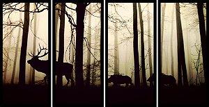 Quadro Mosaico 4 Partes Reto Cervos Na Floresta Art e Cia Preto