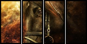 Quadro Mosaico 4 Partes Reto Pintura Cavalo Art e Cia Preto
