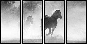 Quadro Mosaico 4 Partes Reto Cavalo Correndo Peb Art e Cia Preto