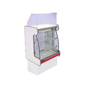 Balcao Caixa Vidro Semi Curvo Pop Luxo Polofrio Branco e Vermelho 60 Cm