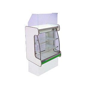 Balcao Caixa Vidro Semi Curvo Pop Luxo Polofrio Branco e Verde 60 Cm