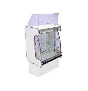 Balcao Caixa Vidro Semi Curvo Pop Luxo Polofrio Branco e Preto 60 Cm