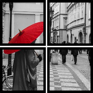 Quadro Mosaico 4 Partes Quadrado Red Umbrella Art e Cia Preto